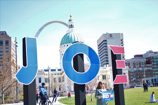 Joe Biden supporters filled Kiener Plaza for the presidential candidate's campaign rally. - JENNA JONES