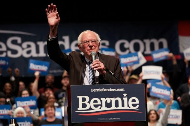 Sen. Bernie Sanders spoke to a packed house in St. Louis. - THEO WELLING