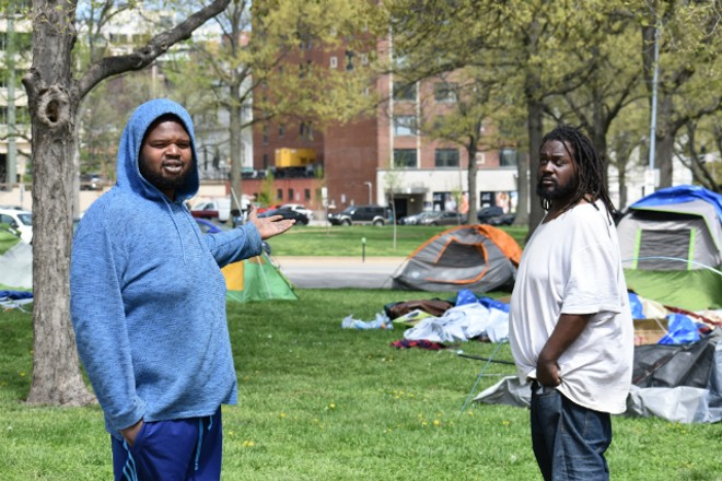Tamadj Shakespeare, left, and Marcus Hunt say police invaded a homeless camp at 4 a.m. on Thursday. - DOYLE MURPHY