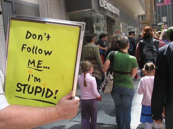 This photo is actually from a St. Stupid's Day parade in San Francisco a few years back, but the sentiment still absolutely applies. - VIA SANDWICH/FLICKR
