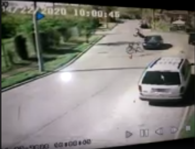 The video, which appears to have been captured by a home security camera, shows the moment of impact. - SCREENSHOT FROM THE VIDEO BELOW