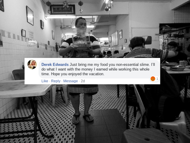 Just one of the many lovely replies we got on our Facebook page after suggesting people tip generously during a pandemic. - ADAPTED PHOTO, ORIGINAL BLACK AND WHITE PHOTO VIA FLICKR/JOHN RAGAL