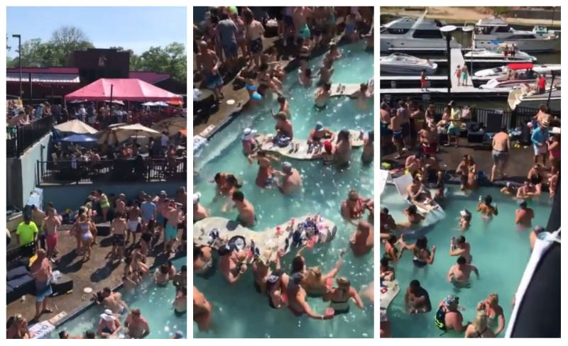 Screenshots from a video that has become big news as covidiots party at Lake of the Ozarks.