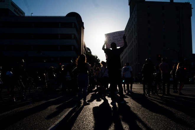 Protesters in St. Louis marched on Friday in response to the killing of George Floyd by Minneapolis police. - TRENTON ALMGREN-DAVIS