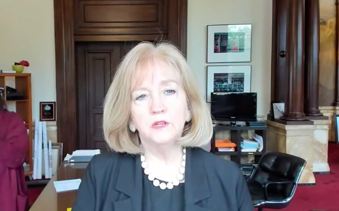Mayor Lyda Krewson, speaking on a live Facebook broadcast on Monday, asked protesters to wear masks. - SCREENSHOT