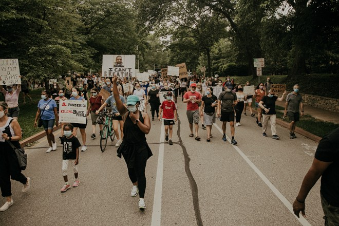 A nonviolent protest in Clayton was one of multiple demonstrations on Monday across St. Louis. - KATIE LONG