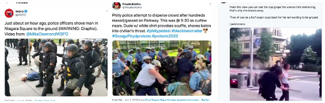 From left: Buffalo police step past 75-year-old, Philly police Officer Joe Bologna clubs a protester and Indianapolis police use batons on a woman. - TWITTER SCREEN SHOTS
