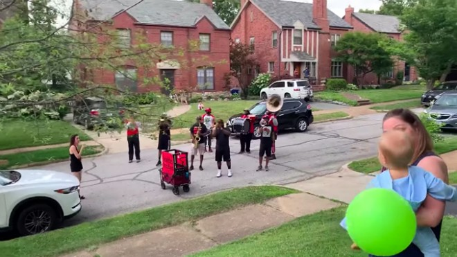 Lola gets a special birthday visit from the Red and Black Brass Band. - MARY ENGELBREIT/FACEBOOK