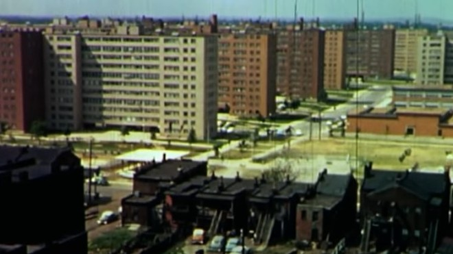These buildings were razed in the 1970s but they still cast a long shadow across St. Louis. - SCREENGRAB VIA YOUTUBE