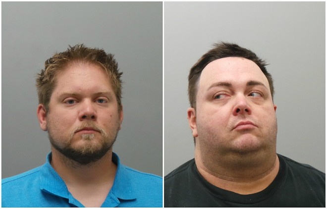 Velda City police officers Matthew Schanz and Christopher Gage face assault charges. - COURTESY ST. LOUIS COUNTY POLICE