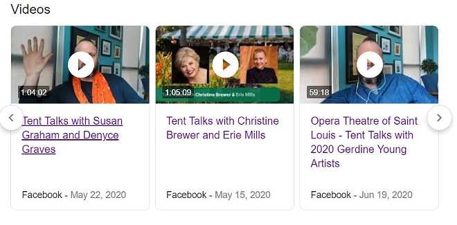 """Damon Bristo's appearances on Opera Theatre Saint Louis' """"Tent Talk"""" series are preserved in Google search, but the company has removed the videos from its Facebook page. - SCREENSHOT VIA GOOGLE"""