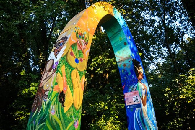 Colorful arches designed by local artists serve as venues for performances throughout a self-guided tour through the park. - NICHOLAS COULTER