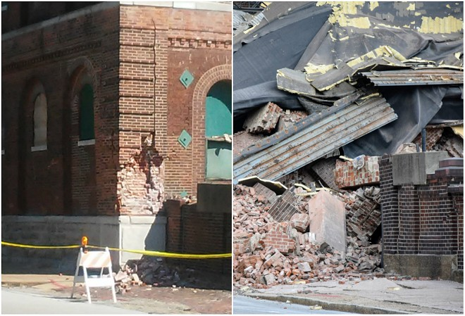 Before-and-after photos of the corner of a Lemp Brewery building that collapsed. - AARON P. BURY/DOYLE MURPHY