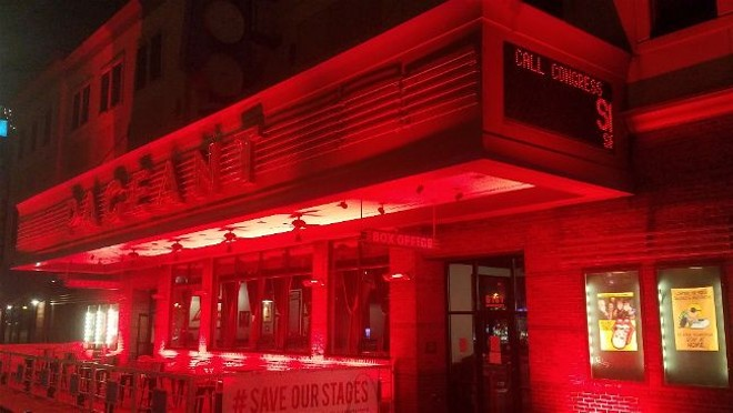 The Pageant, bathed in red light Tuesday night to draw attention to the RESTART Act. - JASON GROSSMAN