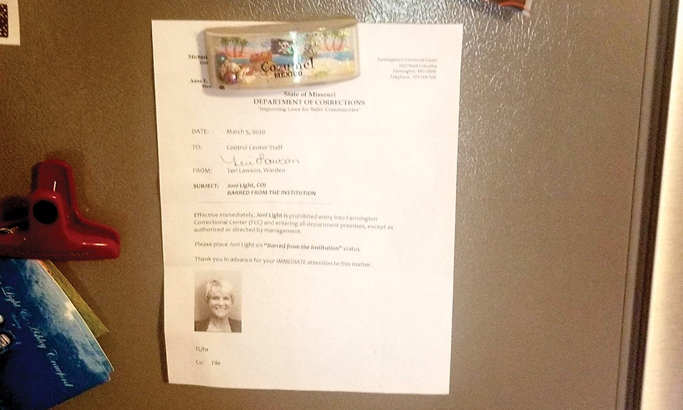 Joni Light keeps the order banning her from MODOC facilities on her refrigerator. - JONI LIGHT