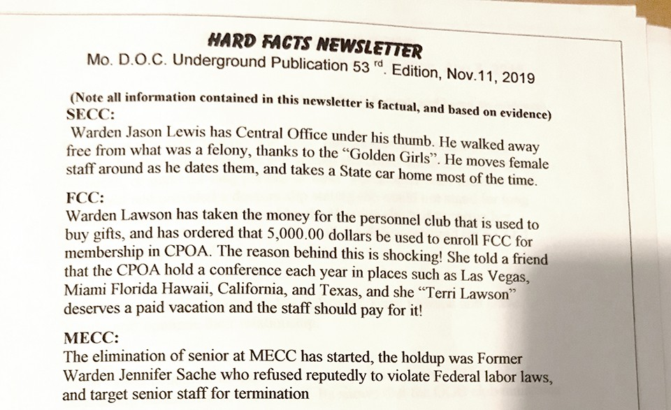 The Hard Facts Newsletter is one of the ways whistleblowers publicize allegations of MODOC misconduct. - CONTRIBUTED