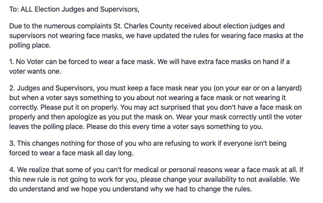 An email sent by a St. Charles election official to its judges and supervisors. - SCREENSHOT