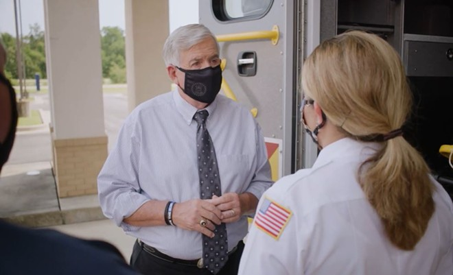 Gov. Parson rejects calls for a statewide mask mandate, though he will wear masks for campaign ads. - SCREENSHOT VIA YOUTUBE
