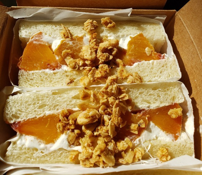 """The """"Peach Boy"""" sando is one of the many Japanese offerings Kurt Bellon will be showcasing at his Izumi pop ups. - COMPLIMENTS OF KURT BELLON"""