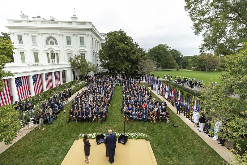 President Trump announces Judge Amy Coney Barrett as his Supreme Court nominee during a Rose Garden ceremony that is suspected to be a super-spreader event. - OFFICIAL WHITE HOUSE PHOTO BY AMY ROSSETTI