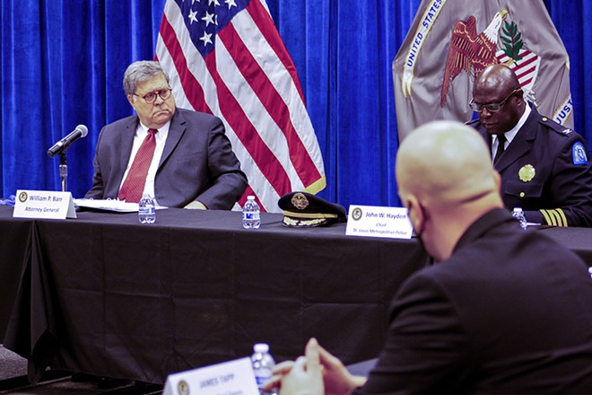 Bill Barr was joined by SLMPD Chief John Hayden and other police officials. - DANNY WICENTOWSKI