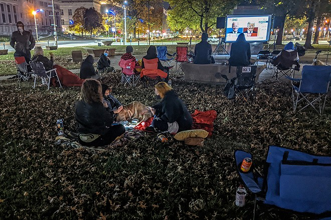 A Resist STL watch party at Poelker Park brought activists downtown on election night. - DANNY WICENTOWSKI