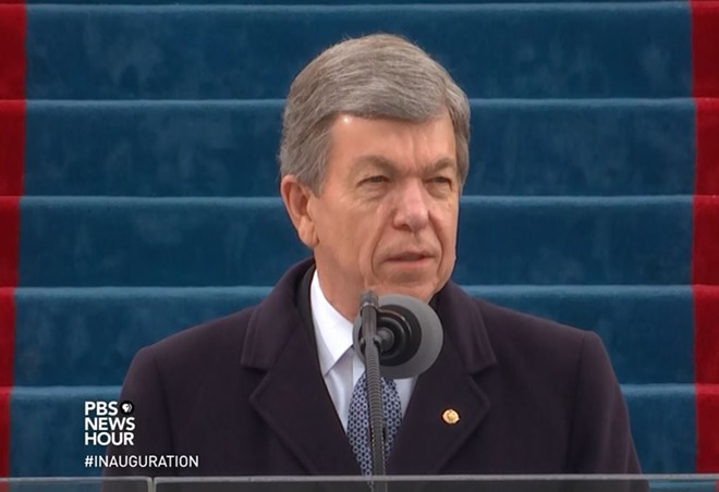 Roy Blunt, seen here not feeling contempt for Donald Trump (apparently) during the 2017 inauguration. - SCREENSHOT VIA YOUTUBE/PBS