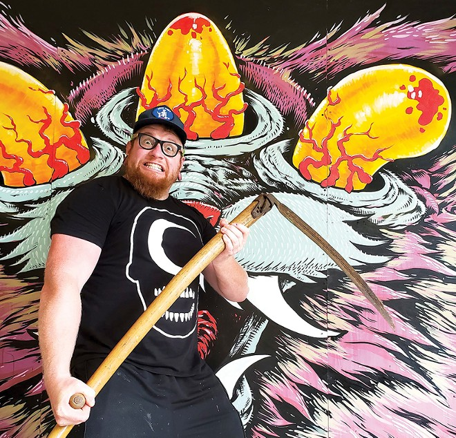 Jason Spencer is best-known for his huge, eye-popping (sometimes literally) murals, but he's found a new hustle in pandemic times: woven blankets. - JASON SPENCER