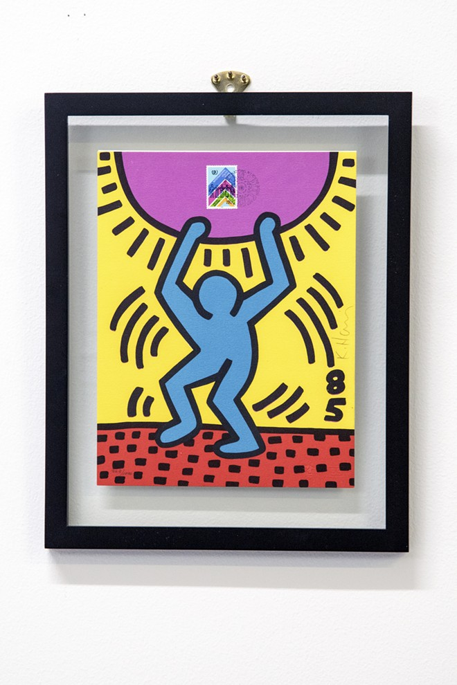 """Haring's distinctive art is recognized all around the world. - KEITH HARING, LITHOGRAPH TO ACCOMPANY THE UNITED NATIONS STAMP: """"INTERNATIONAL YOUTH YEAR"""", EDITION 362/1000, 1984, PRIVATE COLLECTION, KEITH HARING ARTWORK COPYRIGHT ©️ KEITH HARING FOUNDATION"""