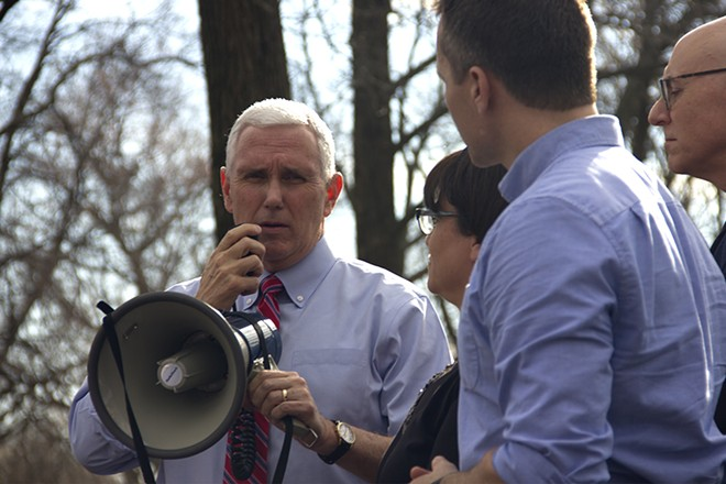 Vice President Mike Pence addresses a volunteer cleanup crew at Chesed Shel Emeth. - PHOTO BY DANNY WICENTOWSKI