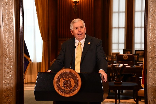 Missouri Gov. Mike Parson discusses the state's unemployment system during a press conference on Feb. 5. - COURTESY MISSOURI GOVERNOR'S OFFICE