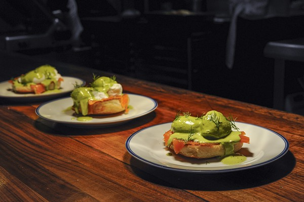 Salmon benedict with dill hollandaise. - PHOTO BY KELLY GLUECK