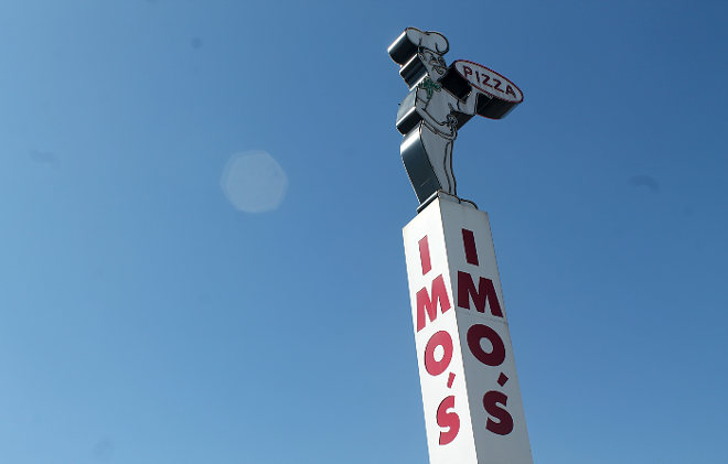 The Imo's Pizza sign on Hampton Avenue proudly overlooks Highway 40. - RILEY MACK