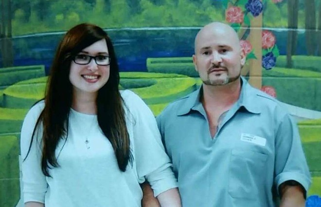 A 2017 photo of Soubasis and his daughter, Bree Wingerter, during a prison visit. - COURTESY OF DIONYSUS SOUBASIS