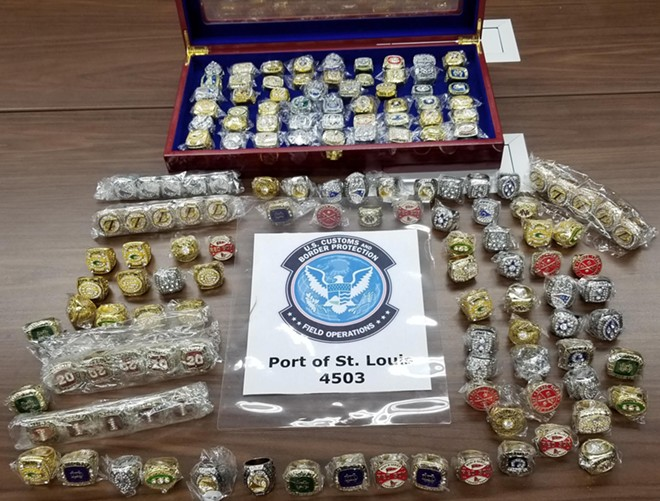 The full haul of fake championship rings. - U.S. CUSTOMS AND BORDER PROTECTION