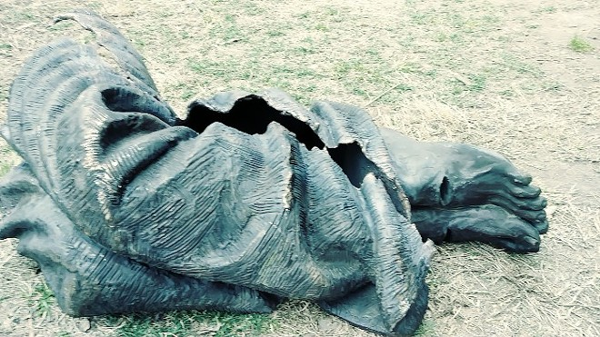 """The """"Homeless Jesus"""" sculpture was chopped up and broken. - NEW LIFE EVANGELISTIC CENTER"""