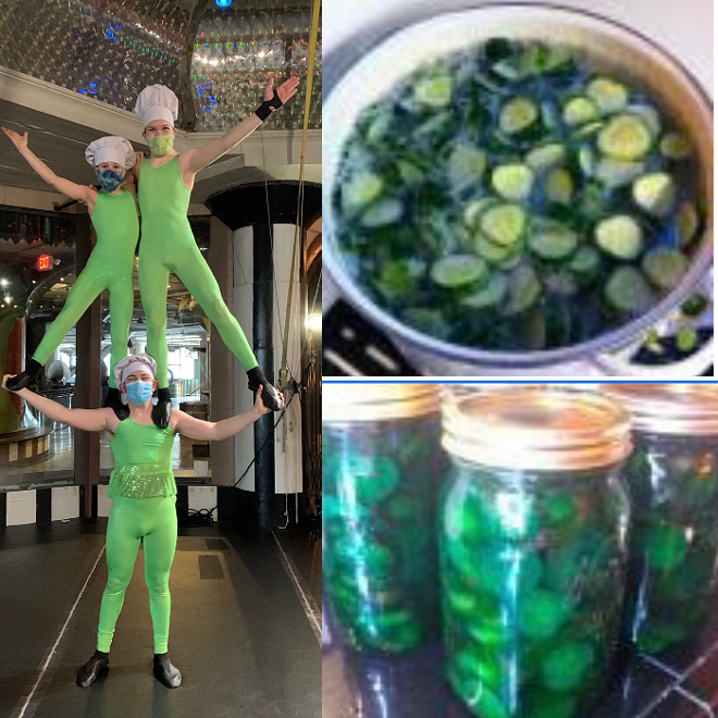 Three students perform as pickles for music director Jeffrey Carter's chartreuse pickle recipe. - CIRCUS HARMONY