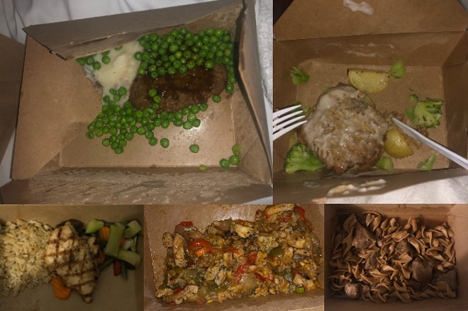 Five of the dinners provided to visitors staying in SLU's quarantine housing. - PHOTO COURTESY OF CLAIRE