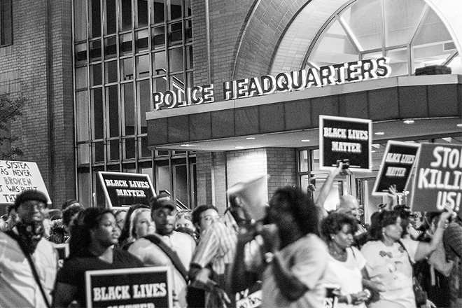 """A """"Blue Silence is Violence"""" protest staged outside the St. Louis police HQ on September 25, 2017. - DANNY WICENTOWSKI"""