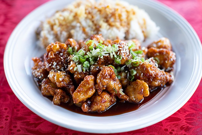 Fire chicken gangjung with jalapeno, garlic, scallion, sweet soy sauce and sesame seed. - MABEL SUEN