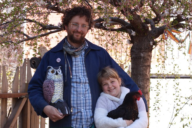 Nick Zengerling and his daughter, Nina Von Trone Zengerling, joined by her good friend Bianca the chicken. - JENN DEROSE