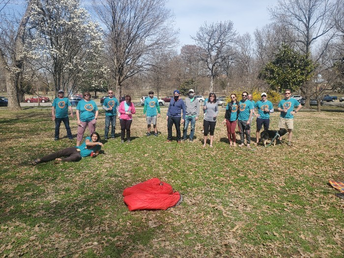 The 24 Hours from Home competitors met at Tower Grove Park to swap stories after the event. - COURTESY MARK FINGERHUT