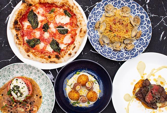 Margherita pizza, capellini and clam pasta, tomato salad, arancini and king cut sirloin. - MABEL SUEN