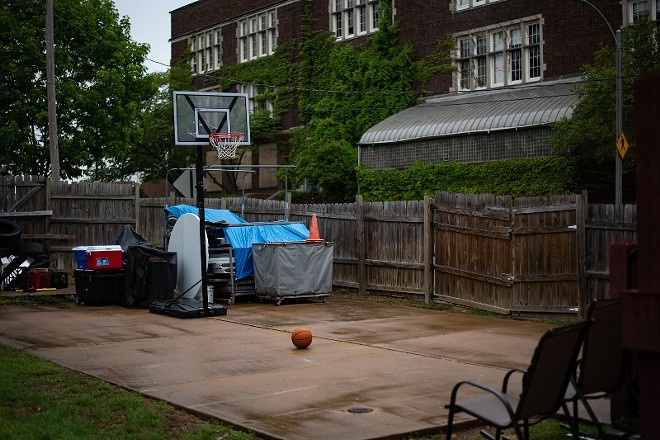 A basketball court is seen in the backyard at the home of Antoine and Tammy Bufford on May 16, 2021, in St. Louis. - MICHAEL B. THOMAS FOR THE INTERCEPT