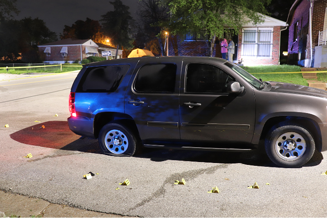 A St. Louis police SUV following a shooting this morning Walnut Park West. - ST. LOUIS METROPOLITAN POLICE