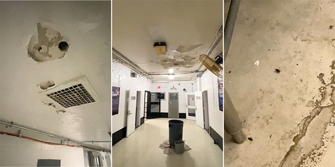 Three scenes from tour inside the Workhouse jail show (from lift to right) holes in a hallway ceiling, rain leaking into buckets, and a bug on the decrepit kitchen floor. - SCREENSHOTS VIA HEATHER TAYLOR VIDEO