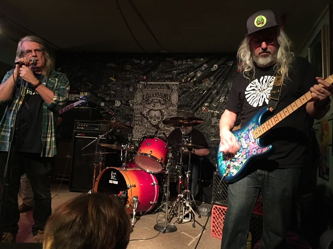 J. Mascis (right) performing blistering a set of Stooges covers at the Way Out Club in 2017. - JAIME LEES