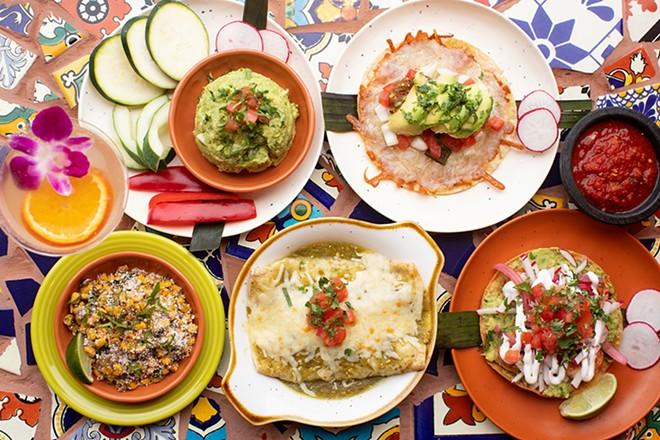 A selection of items at Diego's: guacamole, costra de chiles asados, esquites, enchiladas verdes and shrimp tostada. - MABEL SUEN