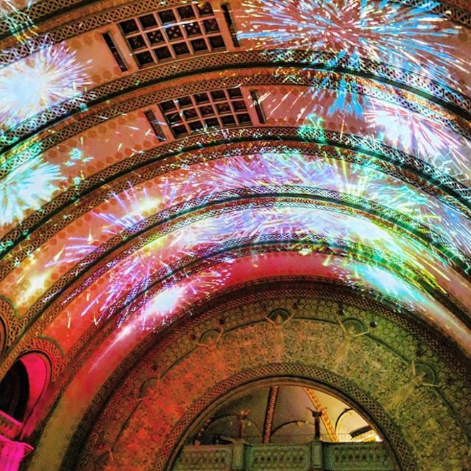 A projected light show inside Union Station. - ERIC ALLIX ROGERS / FLICKR