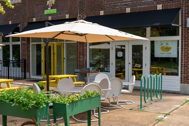 Gather's patio is partially protected from sun, and features a bike rack. - HOLDEN HINDES